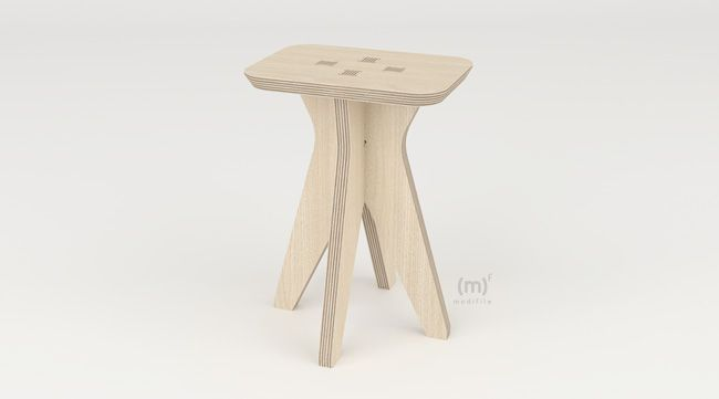 Hermes Stool wooden furniture Configurable stoll to be cut with cnc
