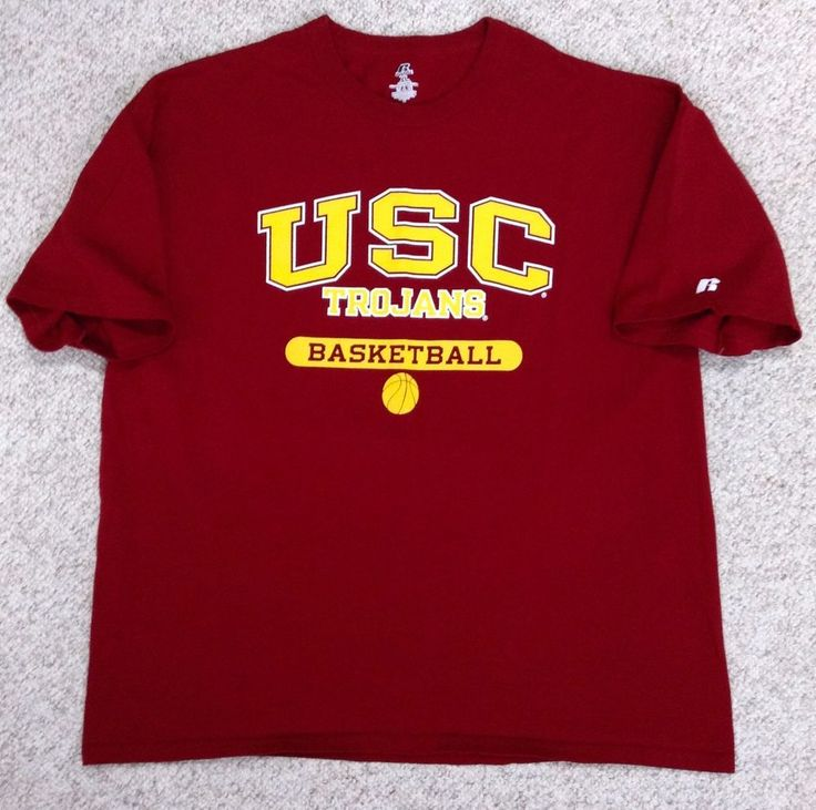 USC TROJANS BASKETBALL T-SHIRT Russell Athletic Dark-Red/Maroon Yellow UNISEX XL #RussellAthletic #USCTrojans