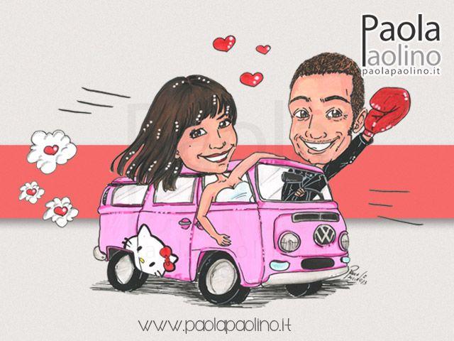 I due #sposi su #Volkswagen #Transporter, mitico #pullmino #Hippie tutto #rosa e personalizzato per l'occasione!  www.paolapaolino.it  #caricaturista #caricature