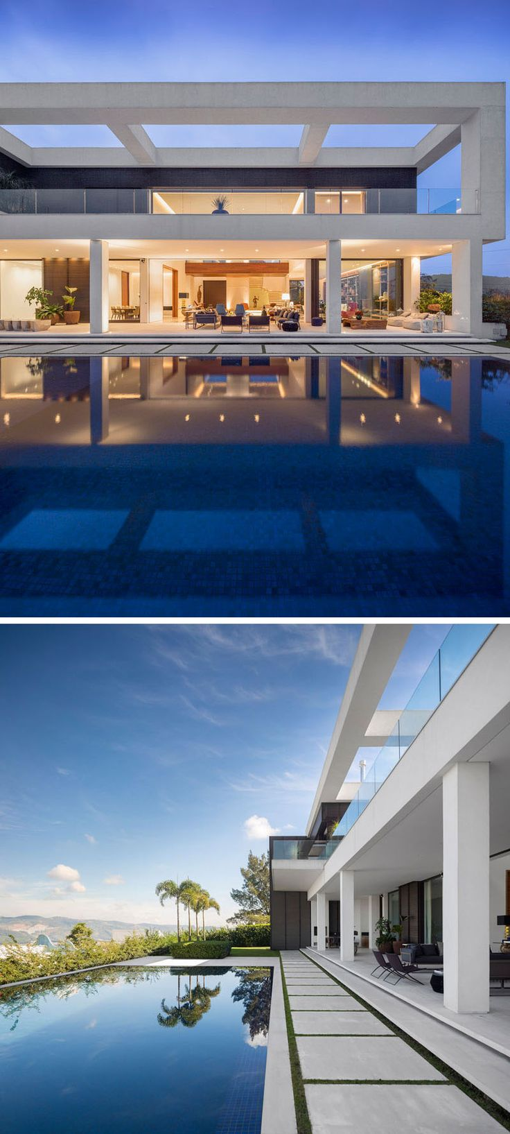 This large swimming pool and outdoor area, make it easy to relax on a hot day and entertain at night.