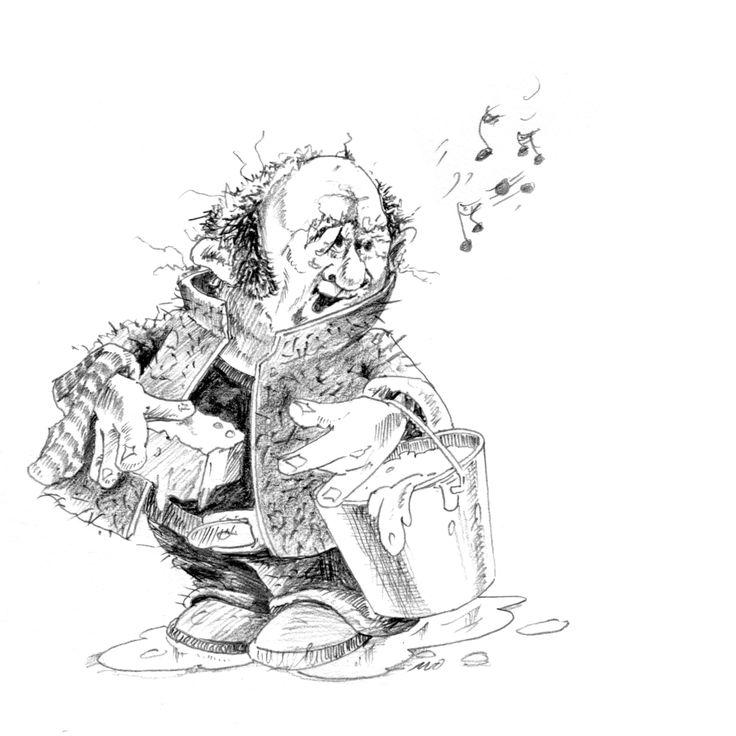 Uit Peter en de Steen van Mu. (Uitgeverij De Ring - 2014) • Eén van de werkers op de gladde berg. Illustratie: Ivo Winnubst - kunstplek Afterdaan.