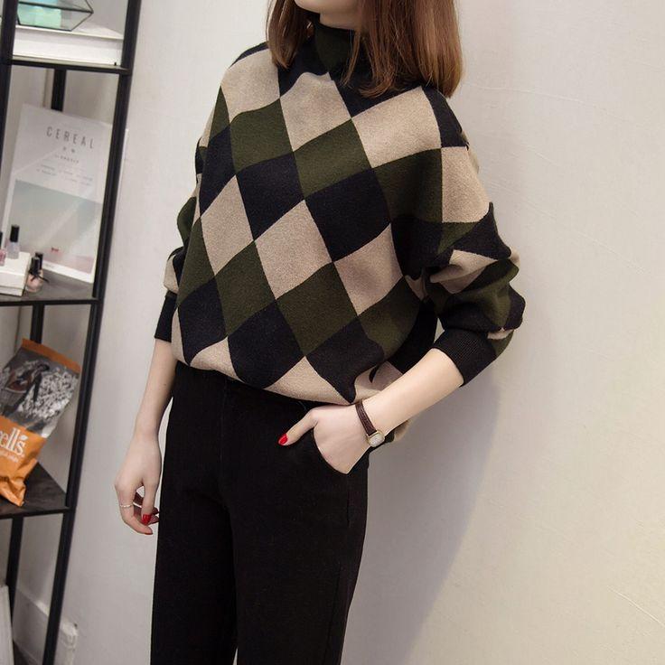 Высокого шею свитер женщины пуловер осень и зима корейской версии свободные свитера женская одежда дна рубашки с длинными рукавами зима 2016 новых поп-определиться с товаром. com дней кошка