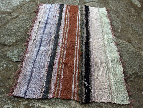Small Vintage Rag Rug Bath Mat Kitchen Wall by VintageHomeStories