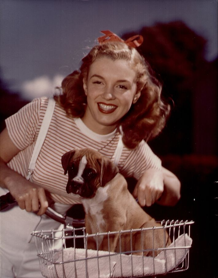 Marilyn Monroe aka Norma Jean with dog