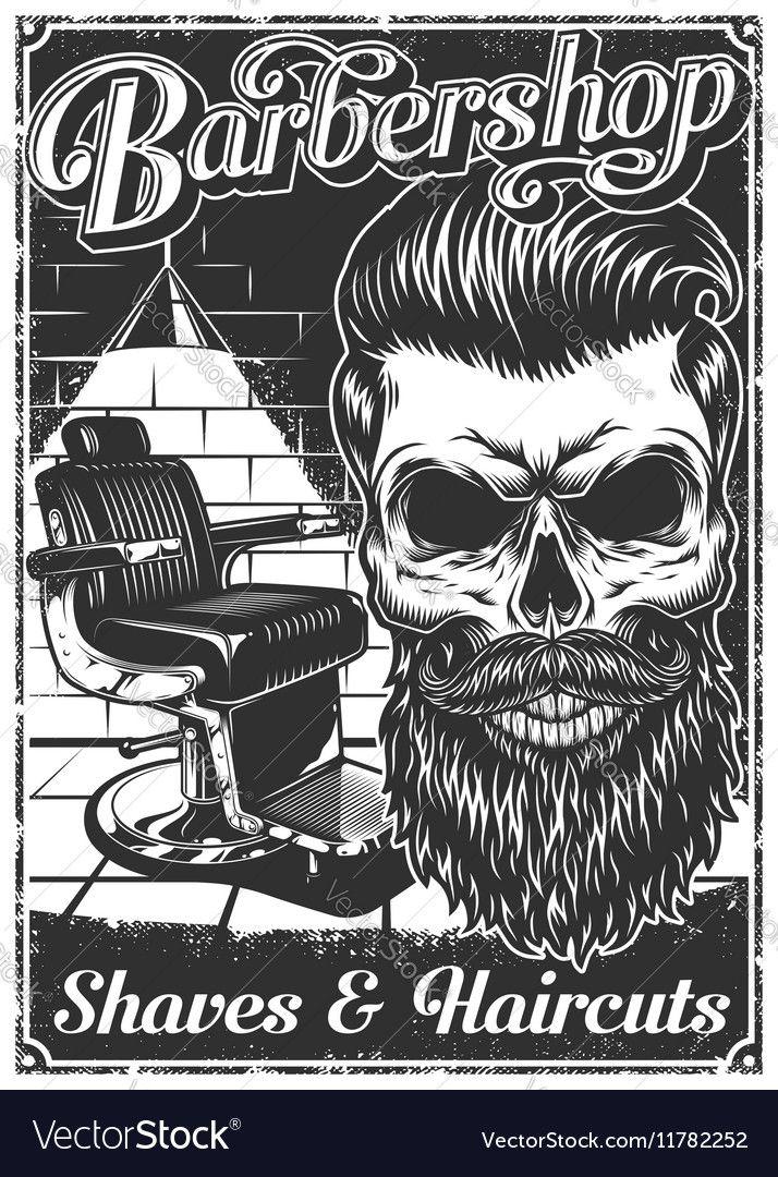 Vintage Barbershop Poster With Barber Chair And Vector Image On Vectorstock Barbershop Poster Barber Shop Barber Shop Decor