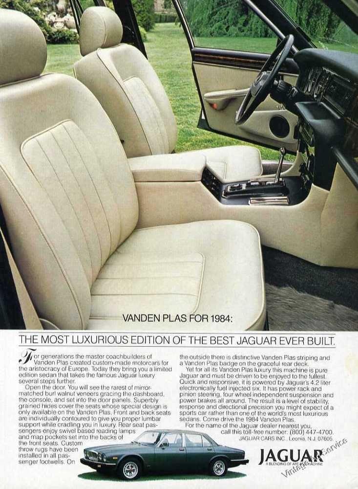 1984 Jaguar Vanden Plas Impressive Interior View Print Ad