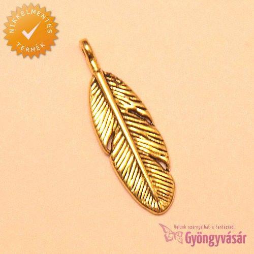 Aranyszínű indián toll - nikkelmentes fém zsuzsu / fityegő • Gyöngyvásár.hu