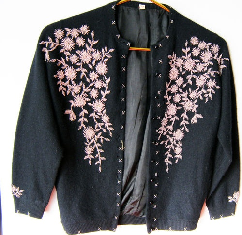 Vintage 70's black wool & bead embroidered jacket/sweater