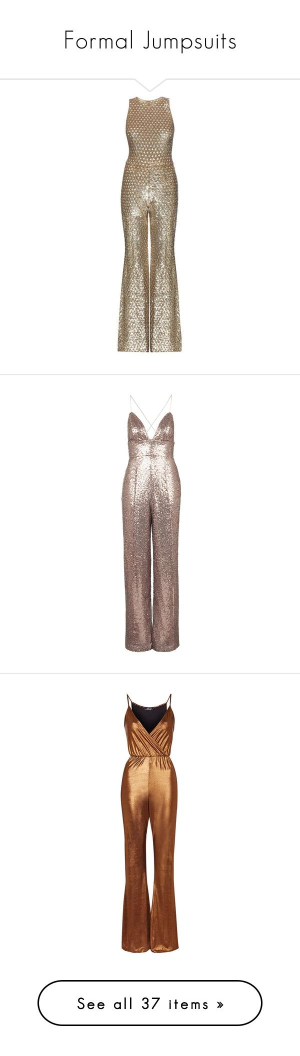 """""""Formal Jumpsuits"""" by mscody ❤ liked on Polyvore featuring jumpsuits, jumpsuit, dresses, metallic, jump suit, metallic jumpsuit, michael kors jumpsuit, brown jumpsuit, embellished jumpsuit and rompers"""