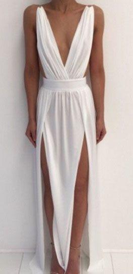 Chiffon Prom Dress,Long Prom Dresses,white Prom Dresses,Split Prom Gown,White Evening Dresses, V-neck Party Dresses