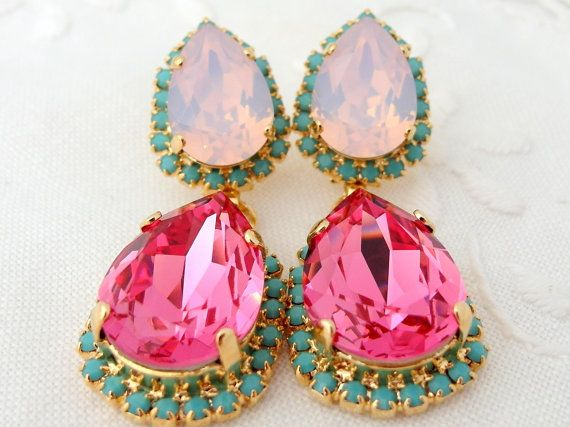 Pink and pink opal with turquoise Chandelier earrings, 14k Gold earrings, Dangle earrings, Drop earrings, Rhinestone earrings, statement on Etsy, $84.00