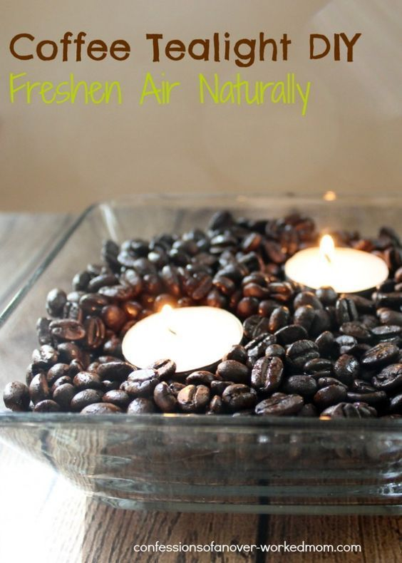 Freshen Indoor Air Naturally - Coffee Tealight DIY. Great idea to fresh your home for any decor. Perfect for people who want easy crafts.
