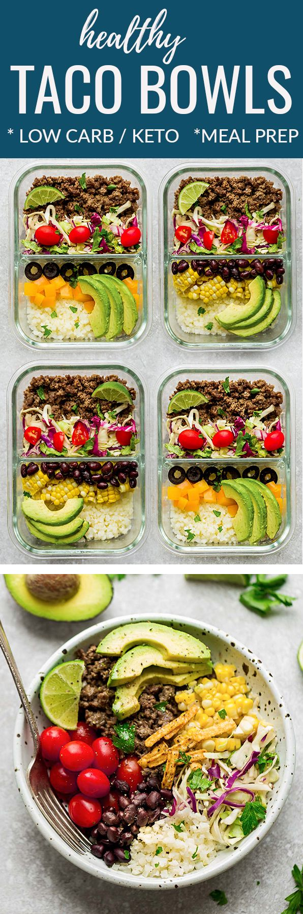 Healthy Taco Bowls - a quick & delicious 30 minute lunch or dinner perfect for busy weeknights. Best of all, ground turkey or beef is seasoned in a homemade Tex-Mex mix with keto & low carb options. Served with cauliflower rice, bell peppers & avocado. For non low carb serve with cilantro or brown rice or quinoa, corn and black beans. Works great for meal prep Sunday for work or school lunchboxes. #mealprep #keto #lowcab #tacos #mexican #tacotuesday #healthy #lunchbox