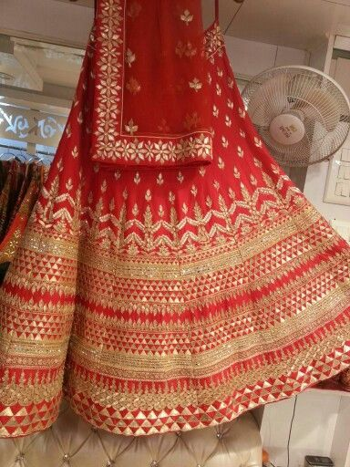 Bridal Lehenga with gotapatti work all over. Can be done in any size and color. Matching choli in red or gold.