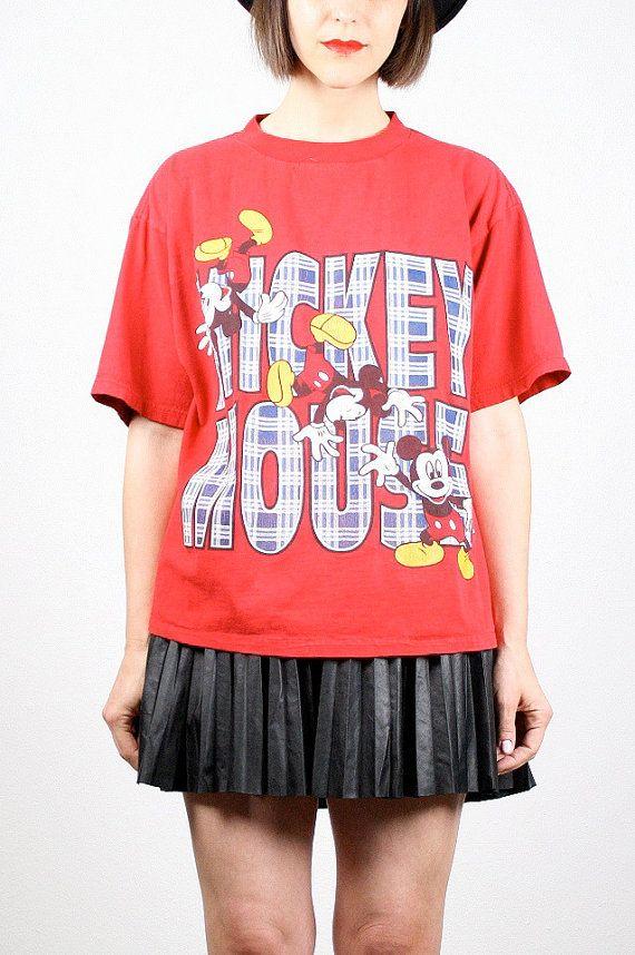 Vintage 90s T Shirt Mickey Mouse Tshirt Soft Grunge Plaid