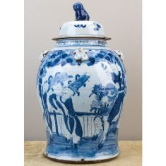 Blue and White Porcelain Chinoiserie Jar with Lid. Product in photo is from www.wellappointedhouse.com