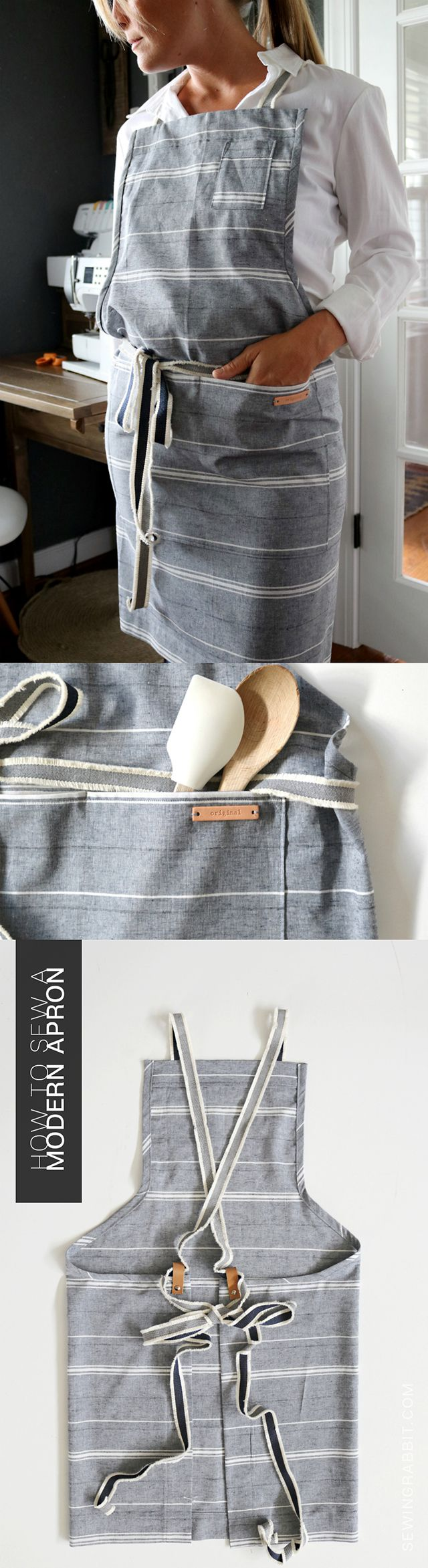 MAKE THIS: modern linen and leather apron #handmadewithjoann