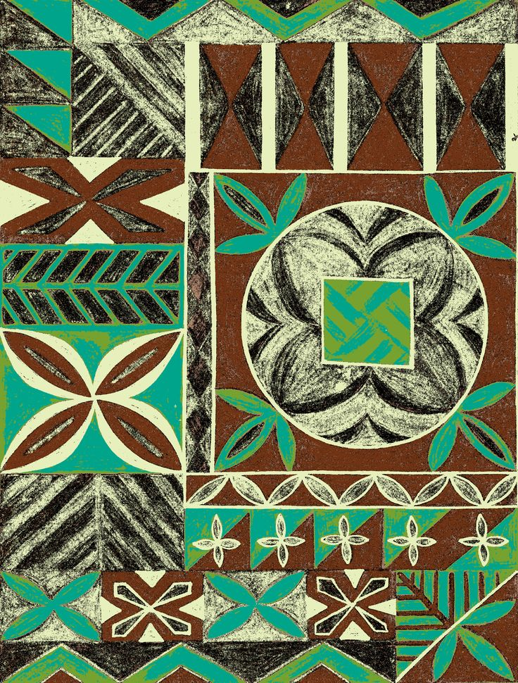 Tapa pattern in jungle lagoon