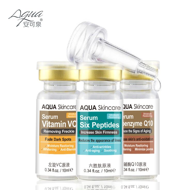 Skin care Vitamin VC serum and Six Peptides Serum and coenzyme Q10 serum  Acne Treatment Whitening Face Care Ageless Beauty
