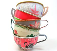 50s Tin Toy Tea cups, Swans & leaves in pink green white on 5 metal.