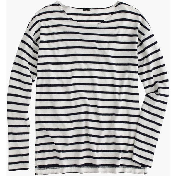 J.Crew Deck-Striped T-Shirt ($65) ❤ liked on Polyvore featuring tops, t-shirts, striped sleeve shirt, sleeve shirt, stripe t shirt, j crew shirt and slim shirt