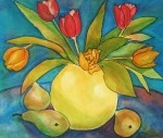 Tulips & Pears - watercolour, pen and ink - for more information, check out my website www.dorset-artist.co.uk