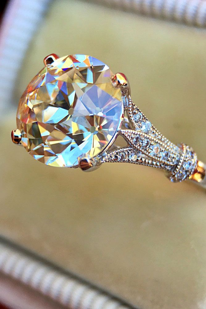 Sparkle Like A Diamond: 18 Moissanite Engagement Rings ❤ See more: http://www.weddingforward.com/moissanite-engagement-rings/ #weddings