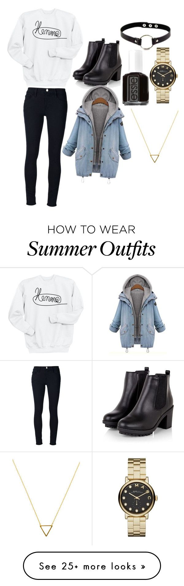 """Outfit for Sophia"" by cineyxx on Polyvore featuring Frame Denim, Amaya, Essie, Marc by Marc Jacobs and Wanderlust + Co"