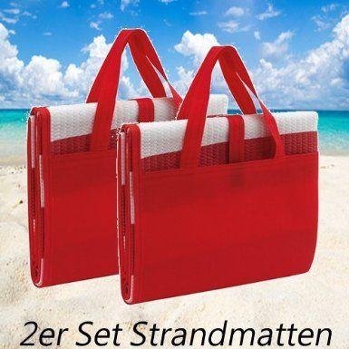 Kingdiscount® 2er Set Maritime Strandmatte faltbar mit aufblasbarem Kissen, als Tasche zusammenfaltbar (rot)