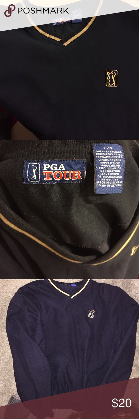 PGA tour golf wind/rain breaker Large PGA tour cover up. Perfect for on top of a golf shirt when out on the fairway. Great as a wind breaker and also water proof. PGA Tour Jackets & Coats Lightweight & Shirt Jackets