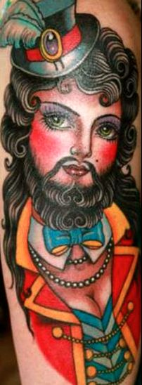 Bearded lady tattoo by Valerie Vargas.