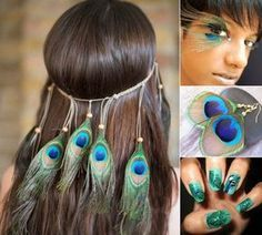 peacock-costume-accessories-haarschmuck-feather eyelashes-peacock earrings Brand design
