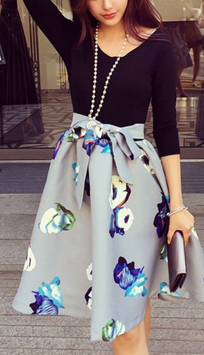 Black Long Sleeve Fitted Top Floral Fit and Flare Skirt Dress