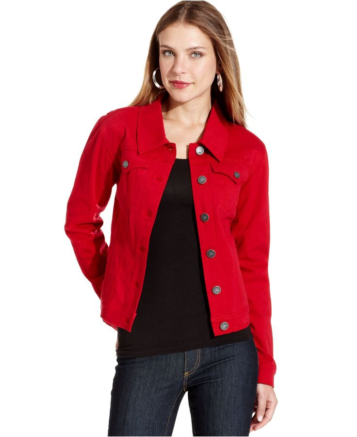 Adaptation classic denim jacket ($) liked on Polyvore featuring outerwear, jackets, red, red jean jacket, red denim jacket, jean jacket, red jacket and denim jackets Find this Pin and more on Colorful Jean Jackets by Taressa H.