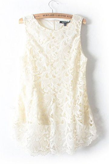 #persunmall Chiffon Stitching Lace Vest in White [FCBI00590] - PersunMall.com