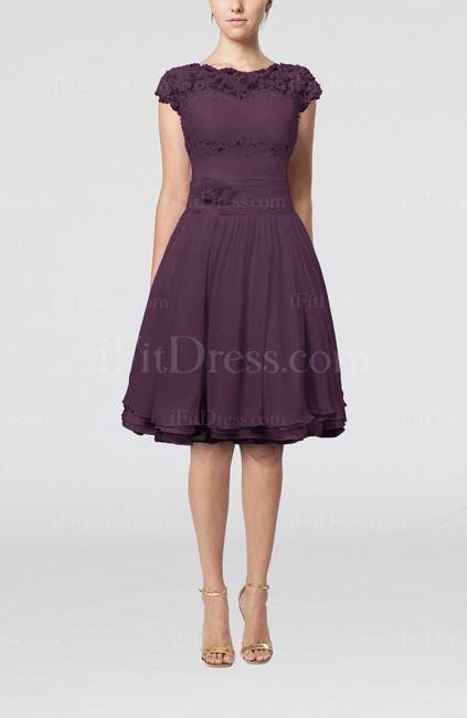 Plum Cinderella Scalloped Edge Short Sleeve Chiffon Knee Length Lace Bridesmaid Dresses - iFitDress.com