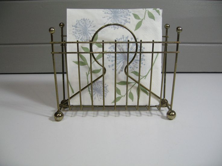 Vintage napkin holder, letter holder, brass midcentury modern decor by TrellisWeddingware on Etsy