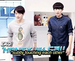 Chanbaek/Baekyeol still being adorable together (gif)