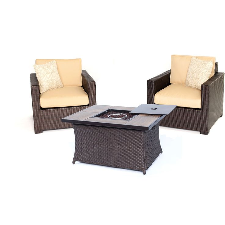 Metro3pc Fire Pit Set: 2 Deep Seating Side Chairs, Woven Fire Pit Coffee  Table