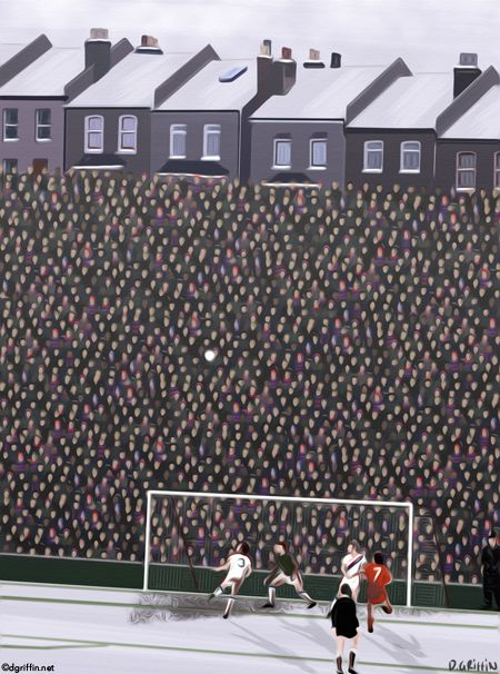 Crystal Palace FC: 'Snowy Holmesdale' Depicting a 1970's wintry game at Selhurst Park with the old Holmesdale road stand and terraced houses in the distance.