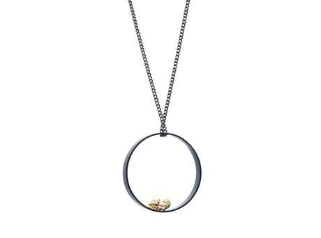 'Alluvial neckpiece' by Carolyn Barker Alluvial gold, shakudo, niage. http://egetal.com.au/store/product/CAB001