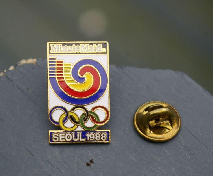 Minute Maid Seoul 1988 Olympic Rings Gold Tone Metal & Enamel Lapel Pin Pinback    eBay