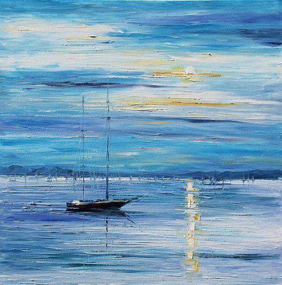 """de la pared arte - paz — paisaje pintura al óleo sobre lienzo de Leonid Afremov. Mar arte, arte de océano, barco decoración, tamaño: 30 """"x 30"""""""