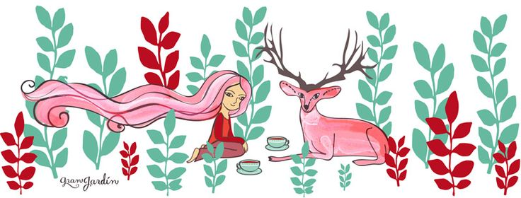 Ilustraciones para Gran Jardín - #tamairis #granjardin #deer #illustration #fairy #girl #leaves #tea #friends #té #amigos