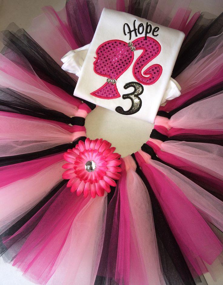 Personalised pink barbie inspired tutu set with rhinestones :)