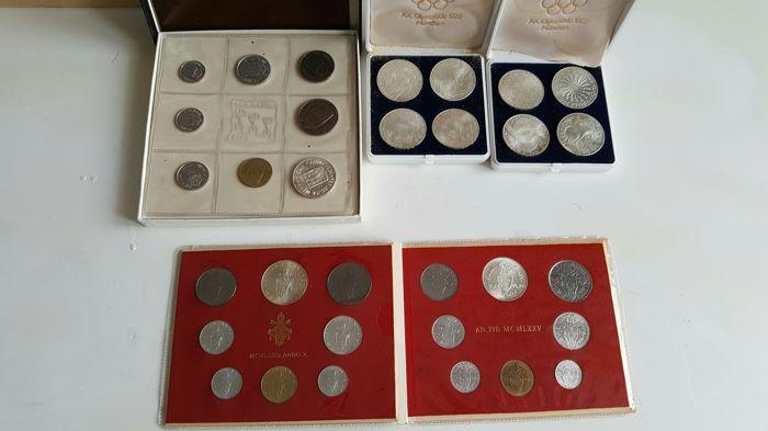 """Italië en andere landen - veel 33 munten (met inbegrip van zilver)  1973 - San Marino - Fleur de Coin1973 - Vaticaan - Fleur de Coin1964 - Vaticaan - Fleur de Coin1722 - Venetië - archeologische - Mocenigo coin - gemiddelde staat van bewaring1972 - Duitse Democratische Republiek - 10 merken - 625 zilver - G merk - """"München Olympische spelen spiraal) Unificato catalogus GE.564 Yvert - 130 KM - EF/XFVaticaan en San Marino Fleur de Coin - zeer goede staat van bewaringHoud er rekening mee: 10…"""