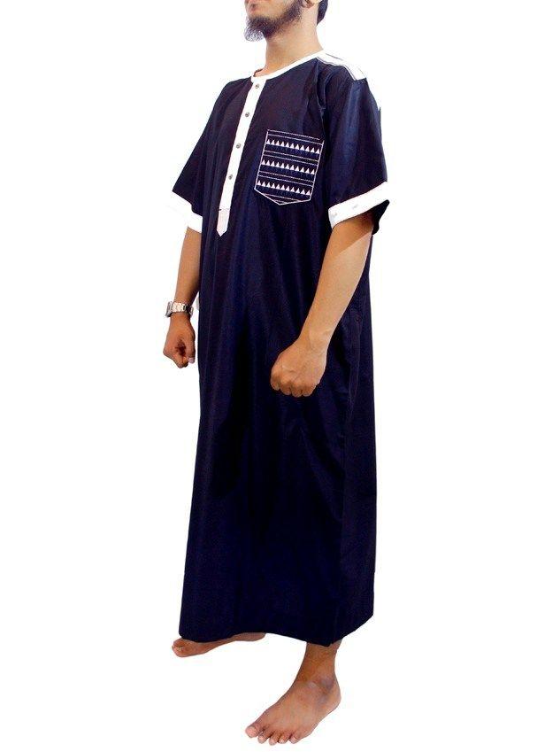 Jubah Muslim Pria Marocco Gamis Pria lengan pendek Kerah Shanghai-Jubah Samase-Navy Putih