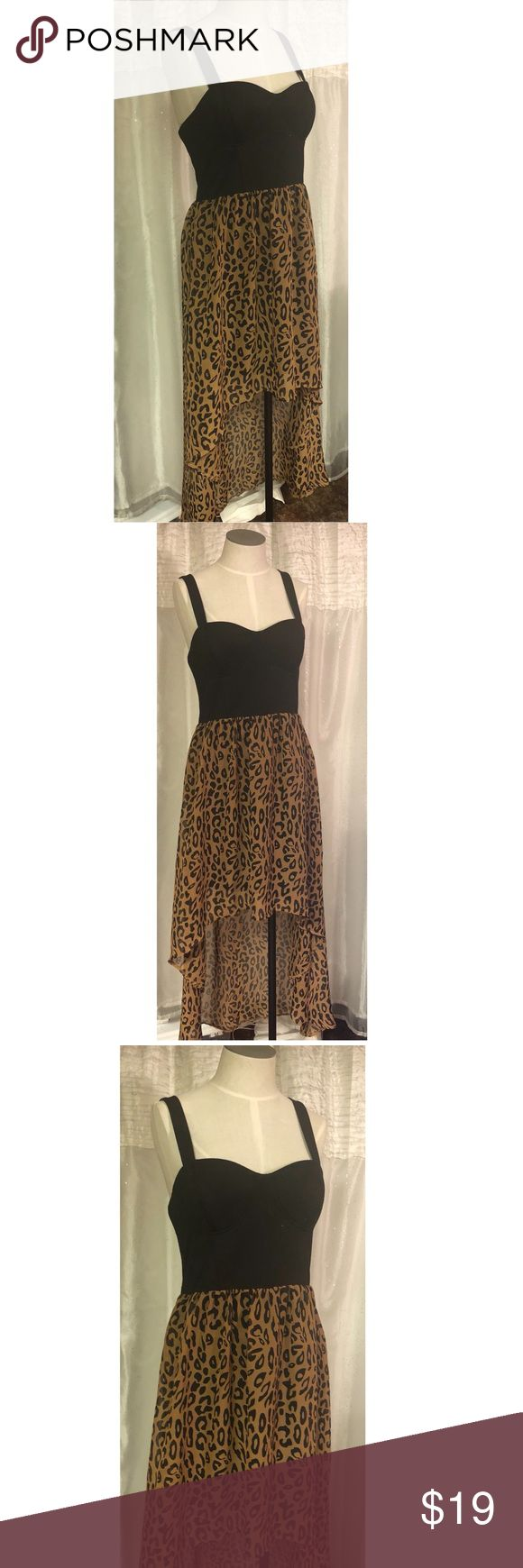 Black and Leopard hi low maxi dress Cute and flattering flowy hi low maxi dress Forever 21 Dresses High Low