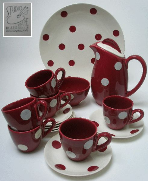J & G MEAKIN POLKA DOT COFFEE SET DESIGNED BY FRANK TRIGGER IN 1957