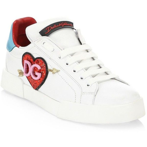 Dolce & Gabbana Glitter Heart Logo Leather Sneakers (36.725 RUB) ❤ liked on Polyvore featuring shoes, sneakers, leather lace up sneakers, dolce gabbana sneakers, leather sneakers, logo cap and heart sneakers